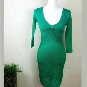 Catherine Malandrino Sz S Green Midi Knit Dress